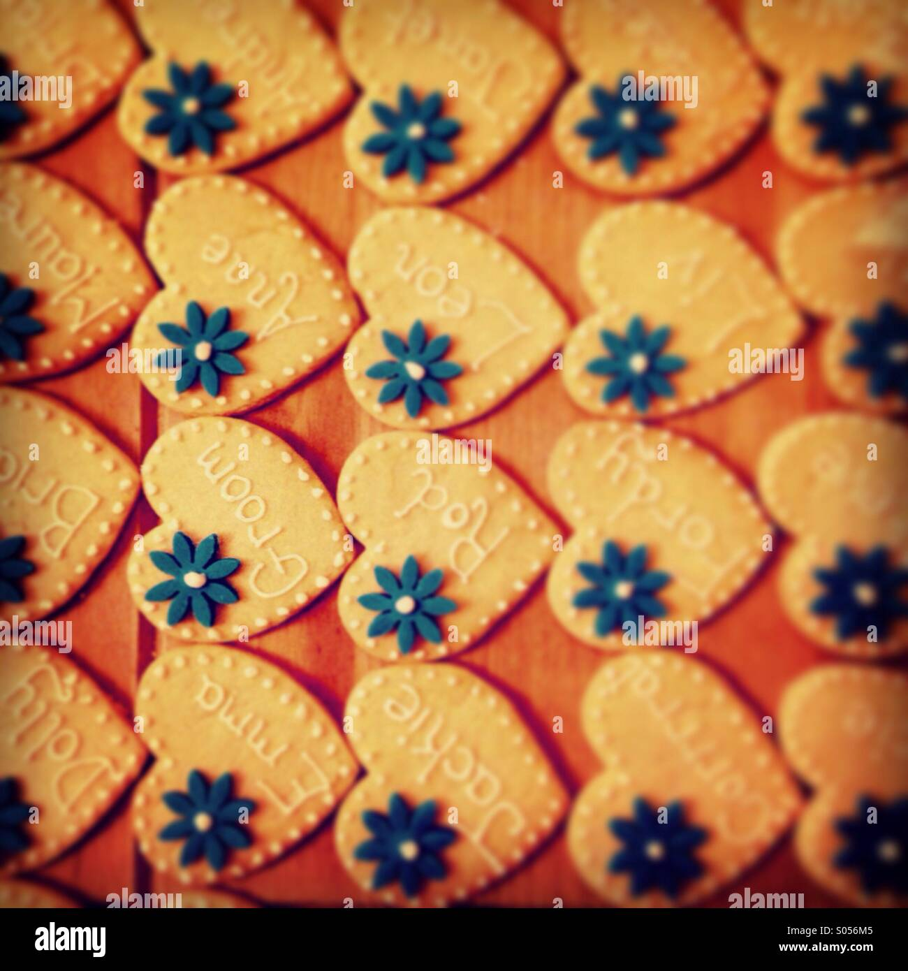 Wedding favour biscuits individually named. - Stock Image