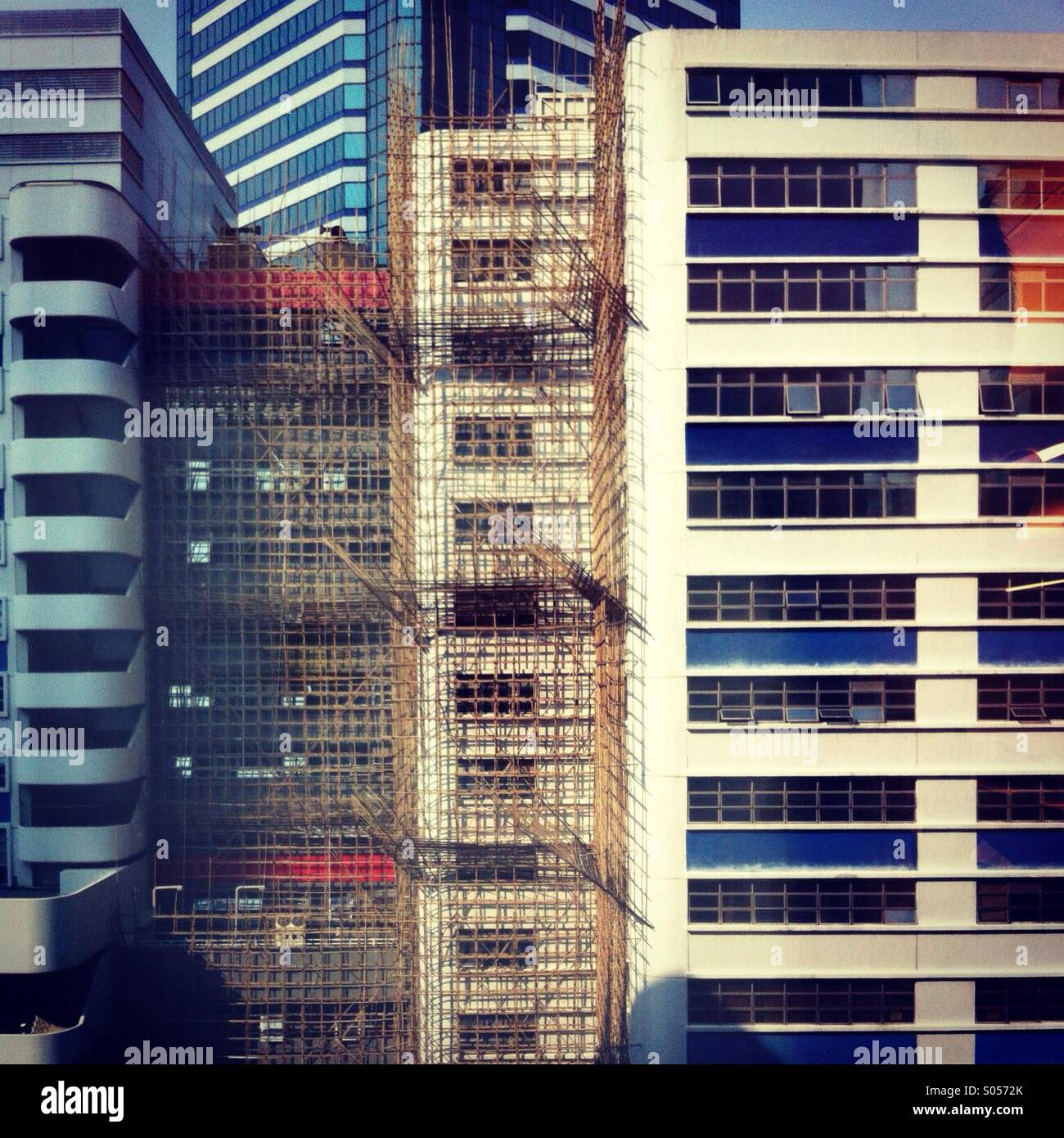 It's a photo of a bamboo scafolding in Honh kong in Taikoo place Stock Photo