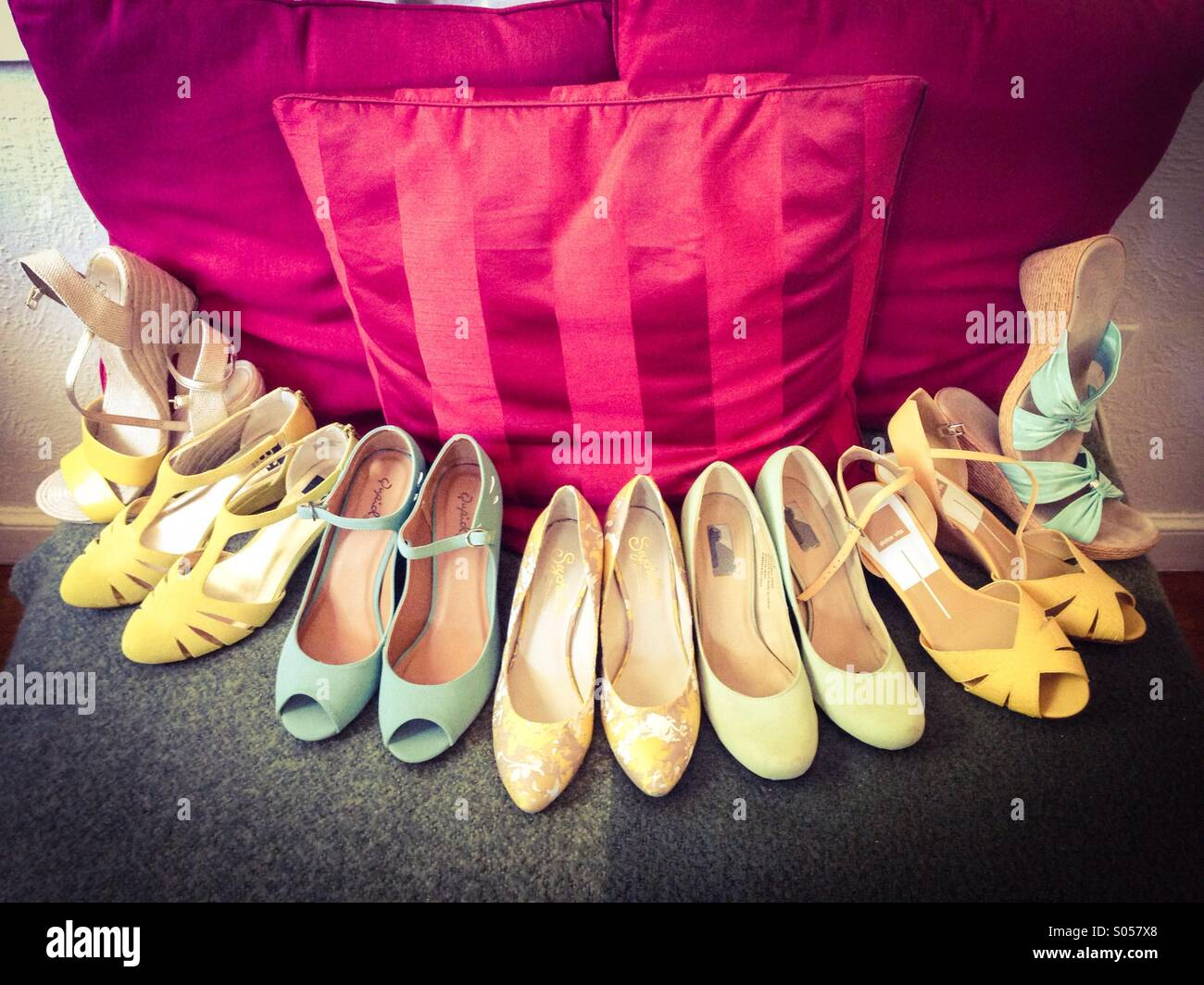 All the bridesmaids shoes. Stock Photo