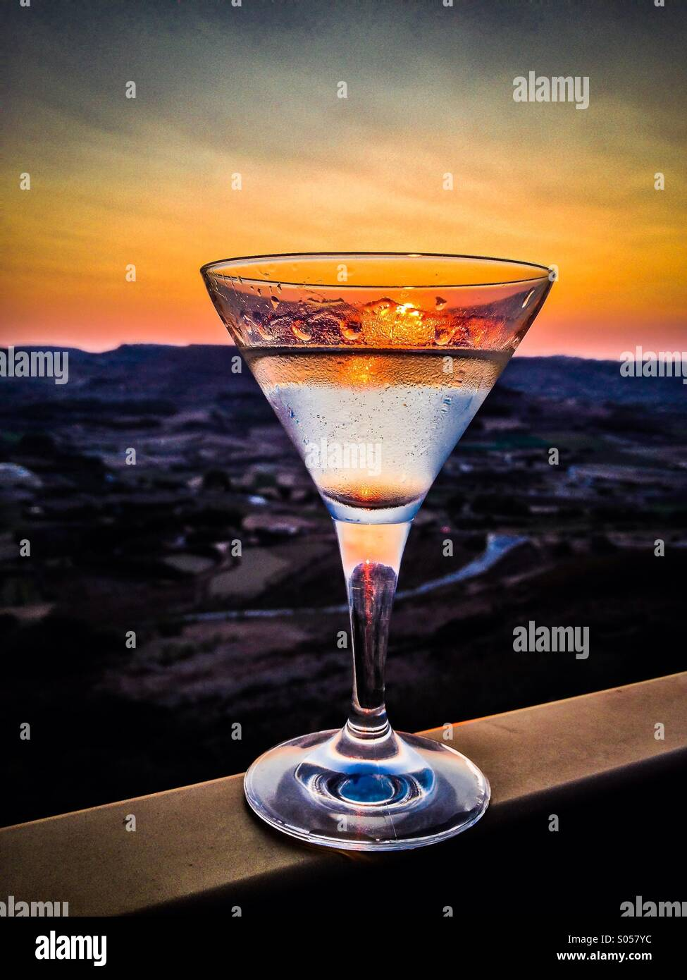 Cocktails at sunset - Stock Image