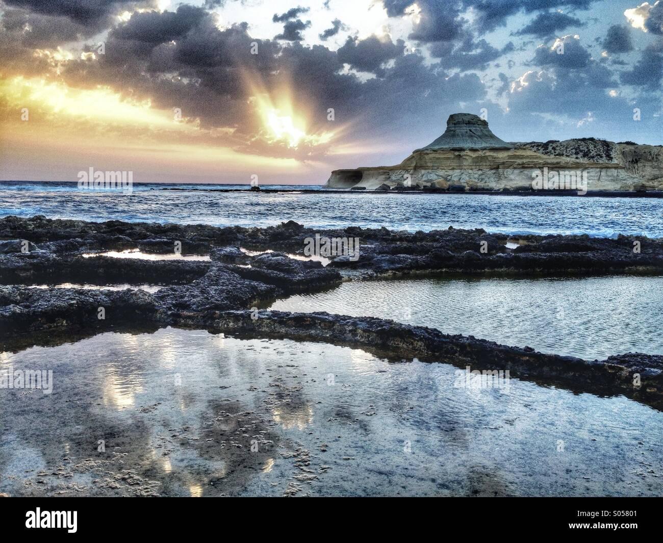 Salt pans at dawn - Stock Image