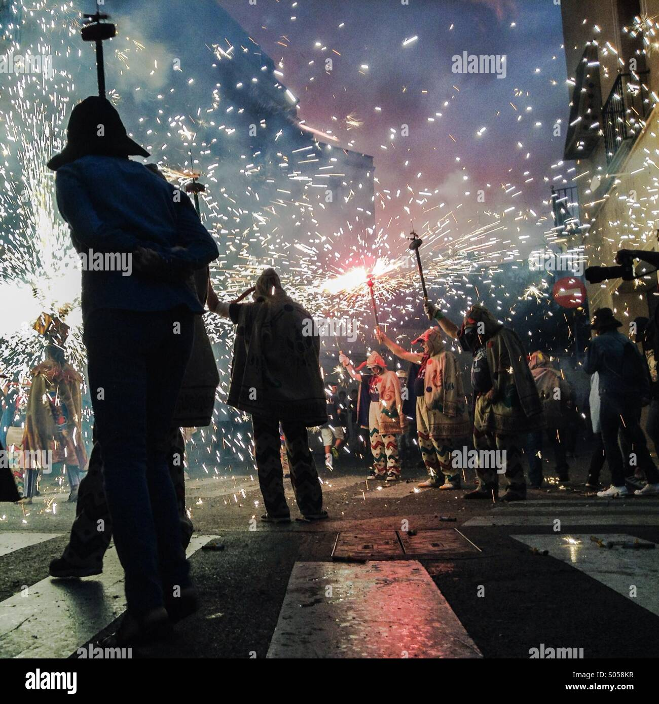 Correfoc, fireworks, Les Santes, Mataró. Barcelona. Fire games in Catalonia - Stock Image
