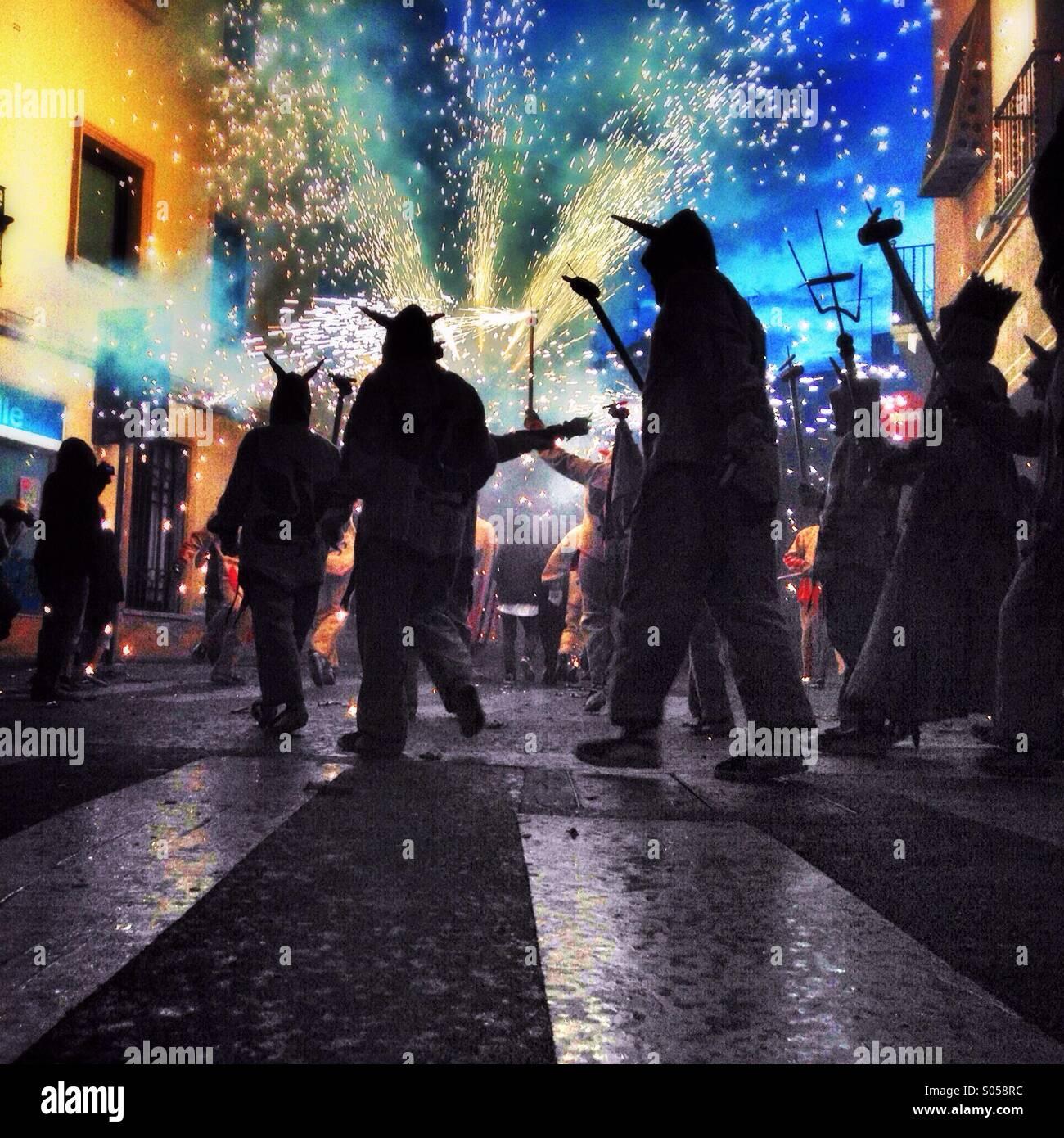 Correfoc, fireworks. Les Santes of Mataró, Barcelona - Stock Image