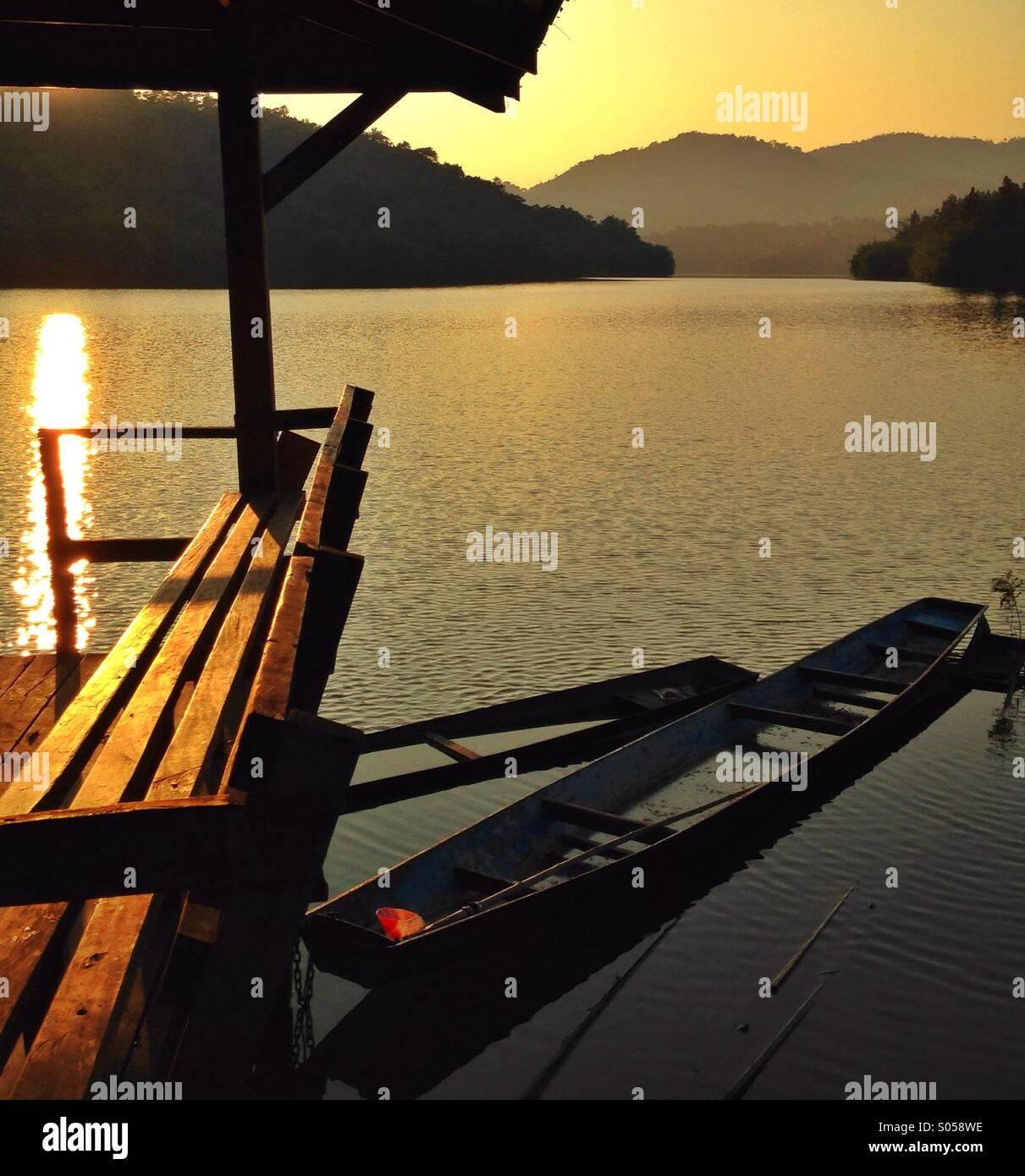 Fishing canoe Thailand - Stock Image
