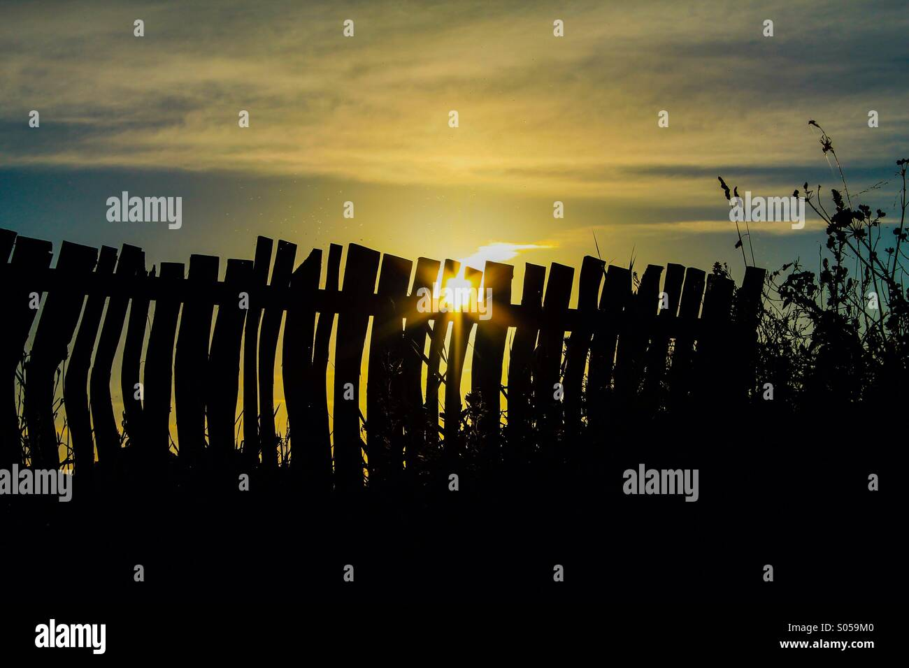 Crooked silhouetted fence - Stock Image