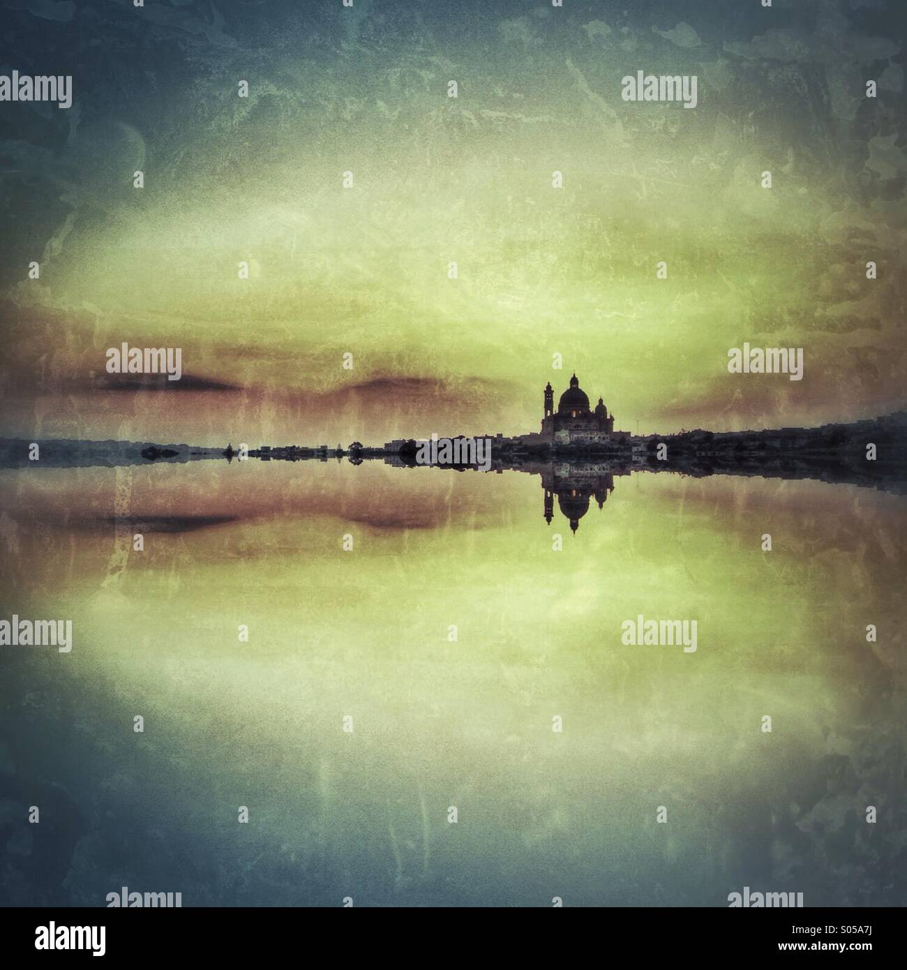 Textured mirrored landscape. - Stock Image