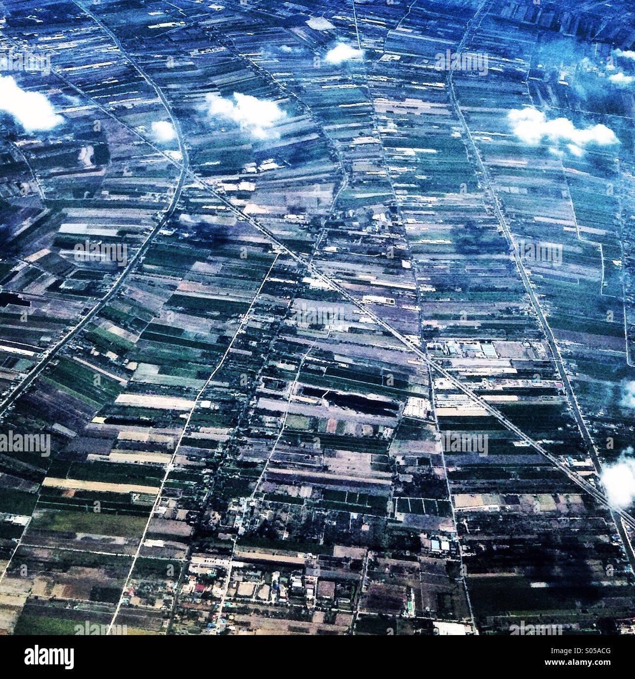 Rice fields from above Thailand - Stock Image