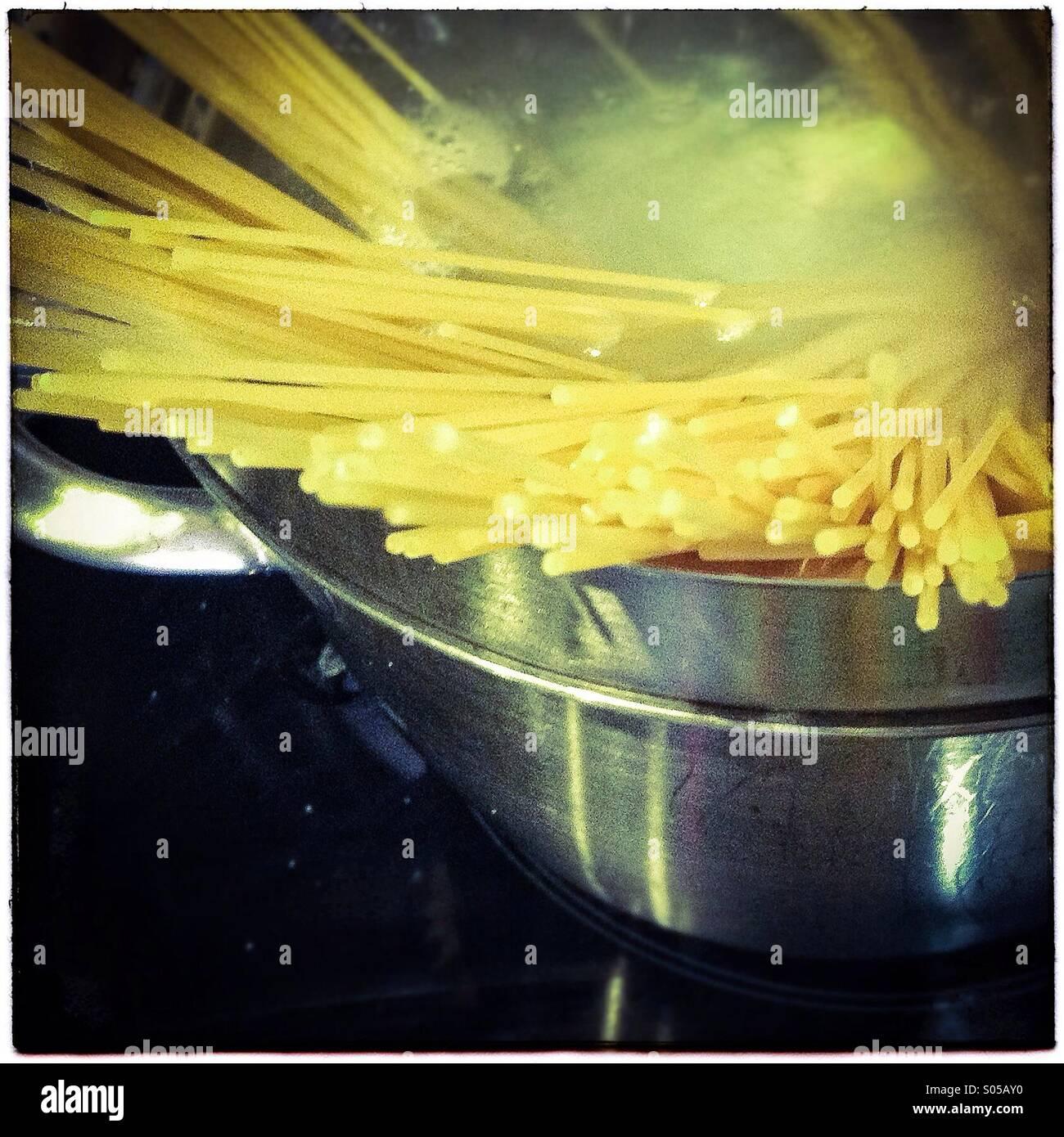 Gluten free spaghetti pasta boiling - Stock Image