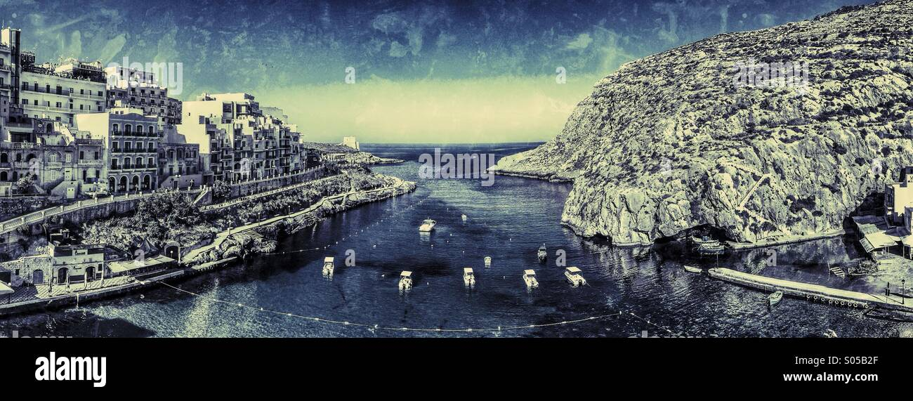 Montaged panorama of quiet harbour - Stock Image
