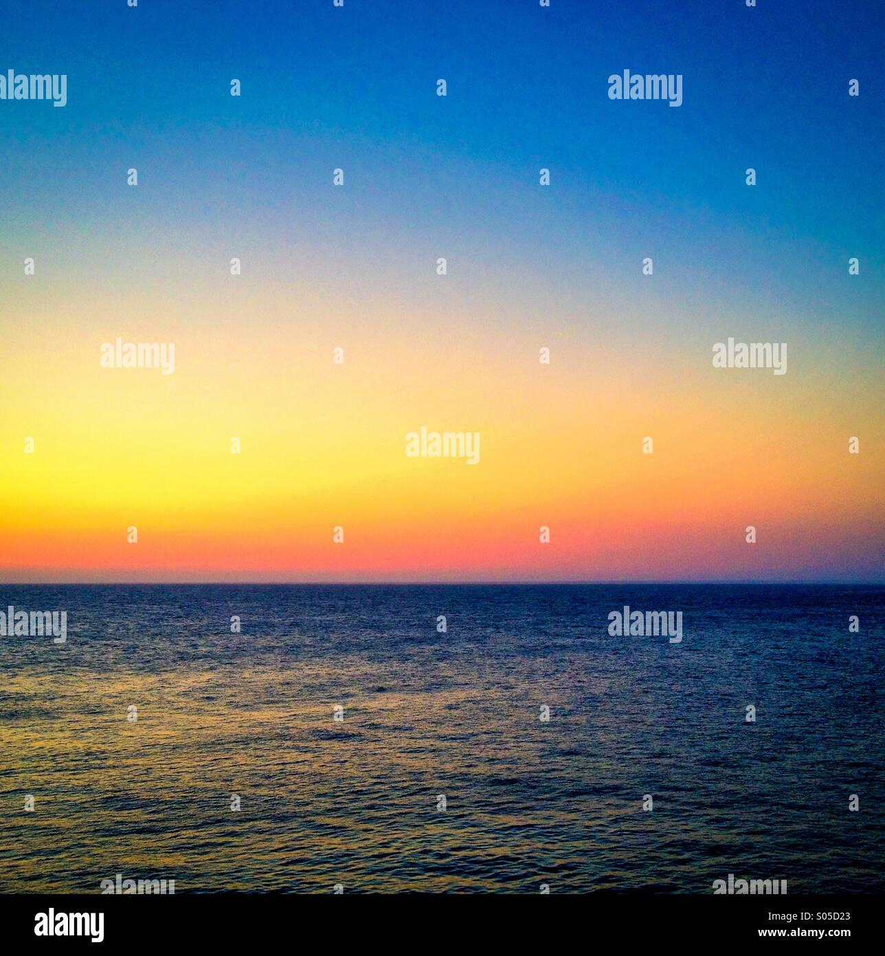 Sunrise over the Mediterranean Sea - Stock Image