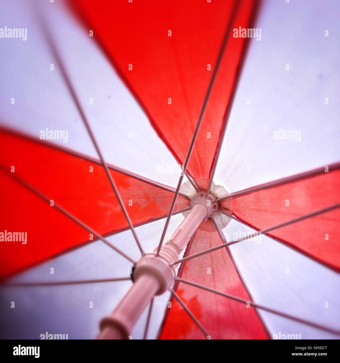 Red and white umbrella - Stock Image