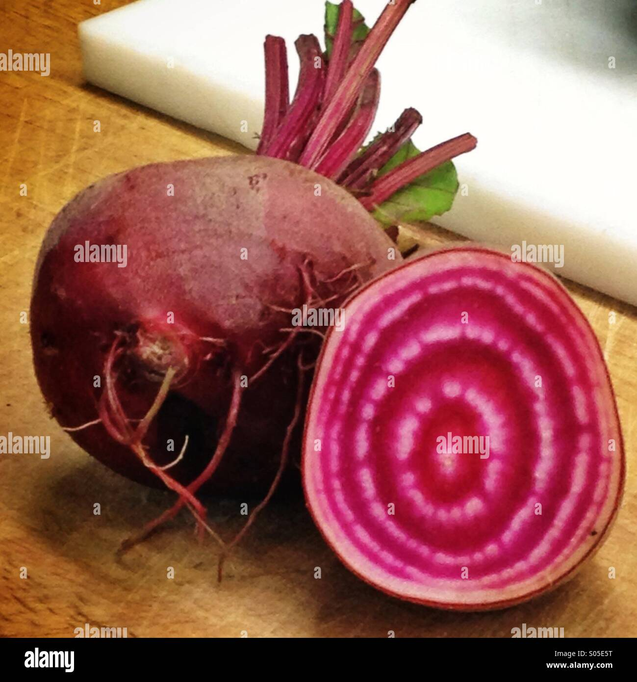 Chioggia beet halved Stock Photo