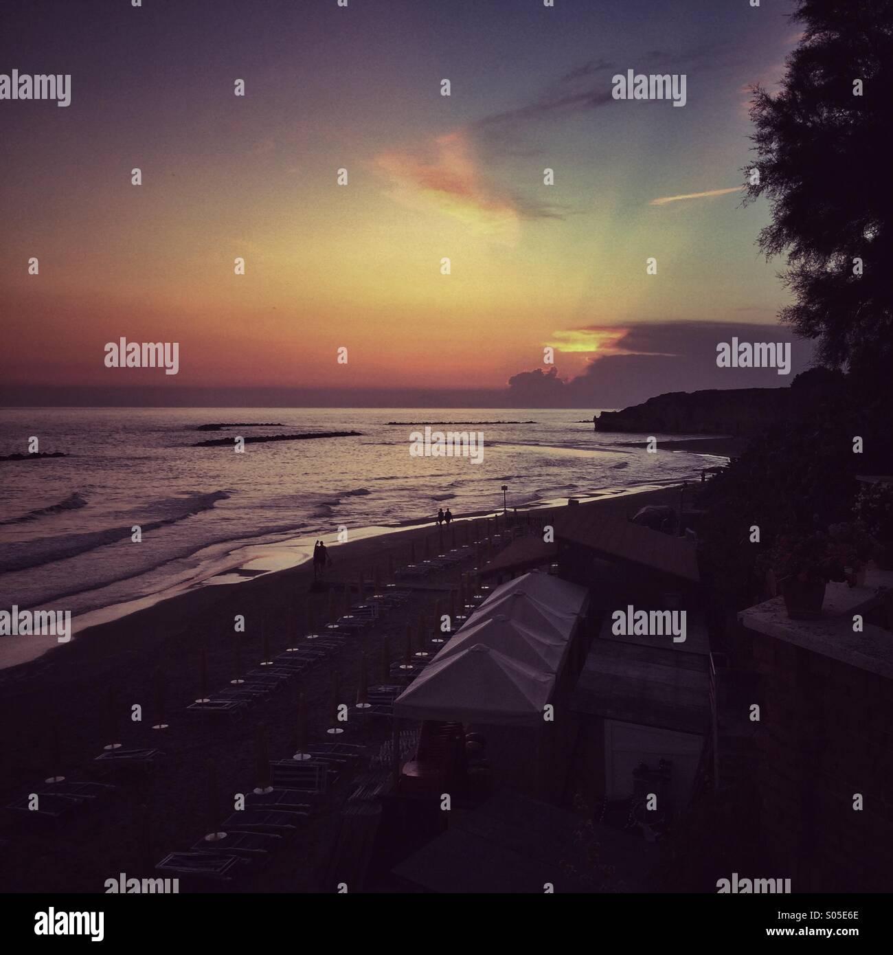 Anzio, spiaggia al tramonto. Anzio, sunset. - Stock Image