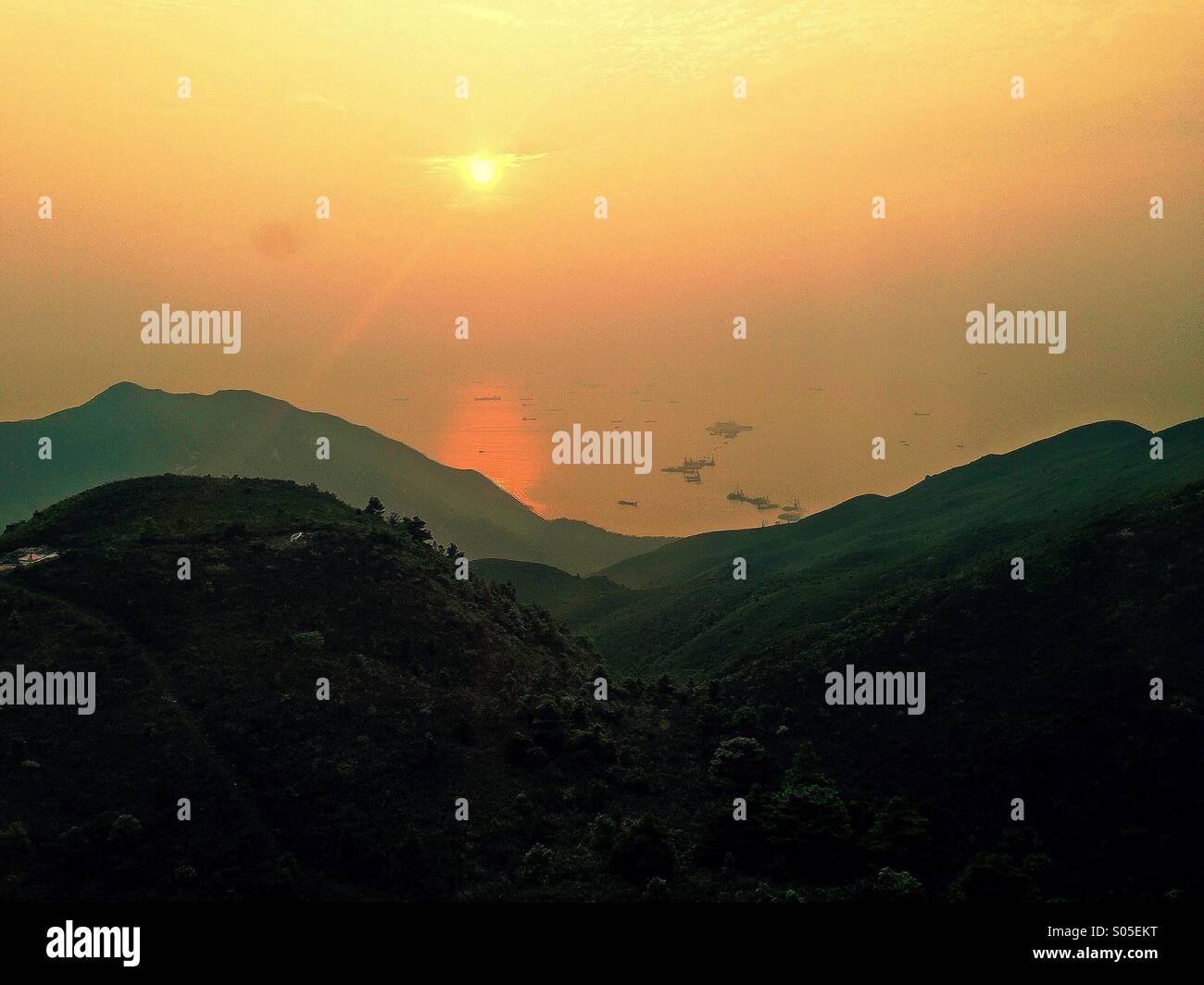 View of the South China Sea from Hong Kong Island. - Stock Image