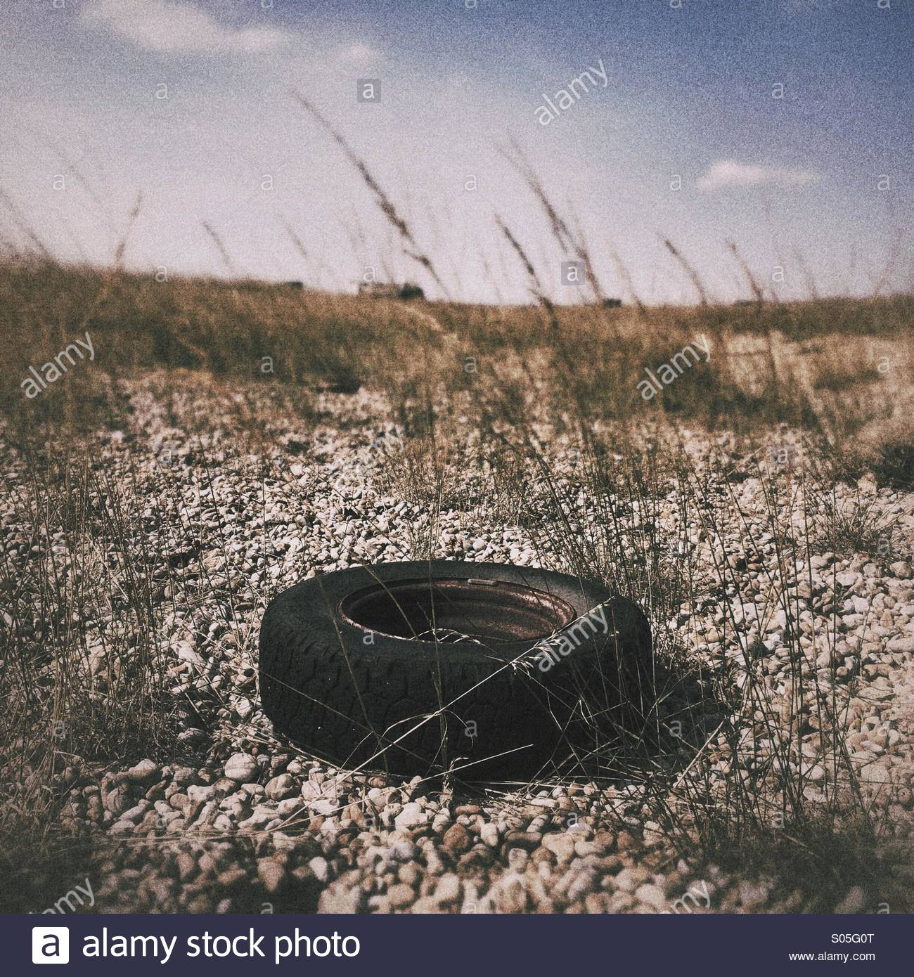 Abandoned tyre - Stock Image