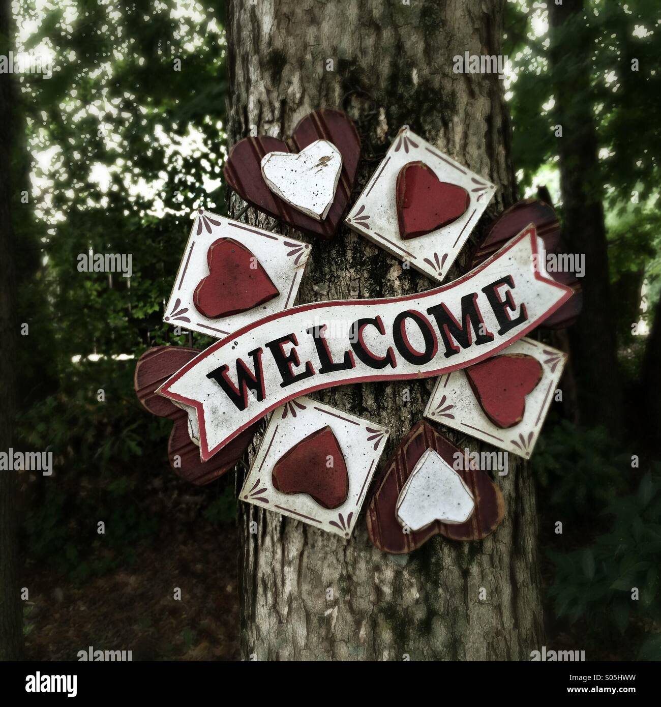 Welcome sign on a tree. - Stock Image