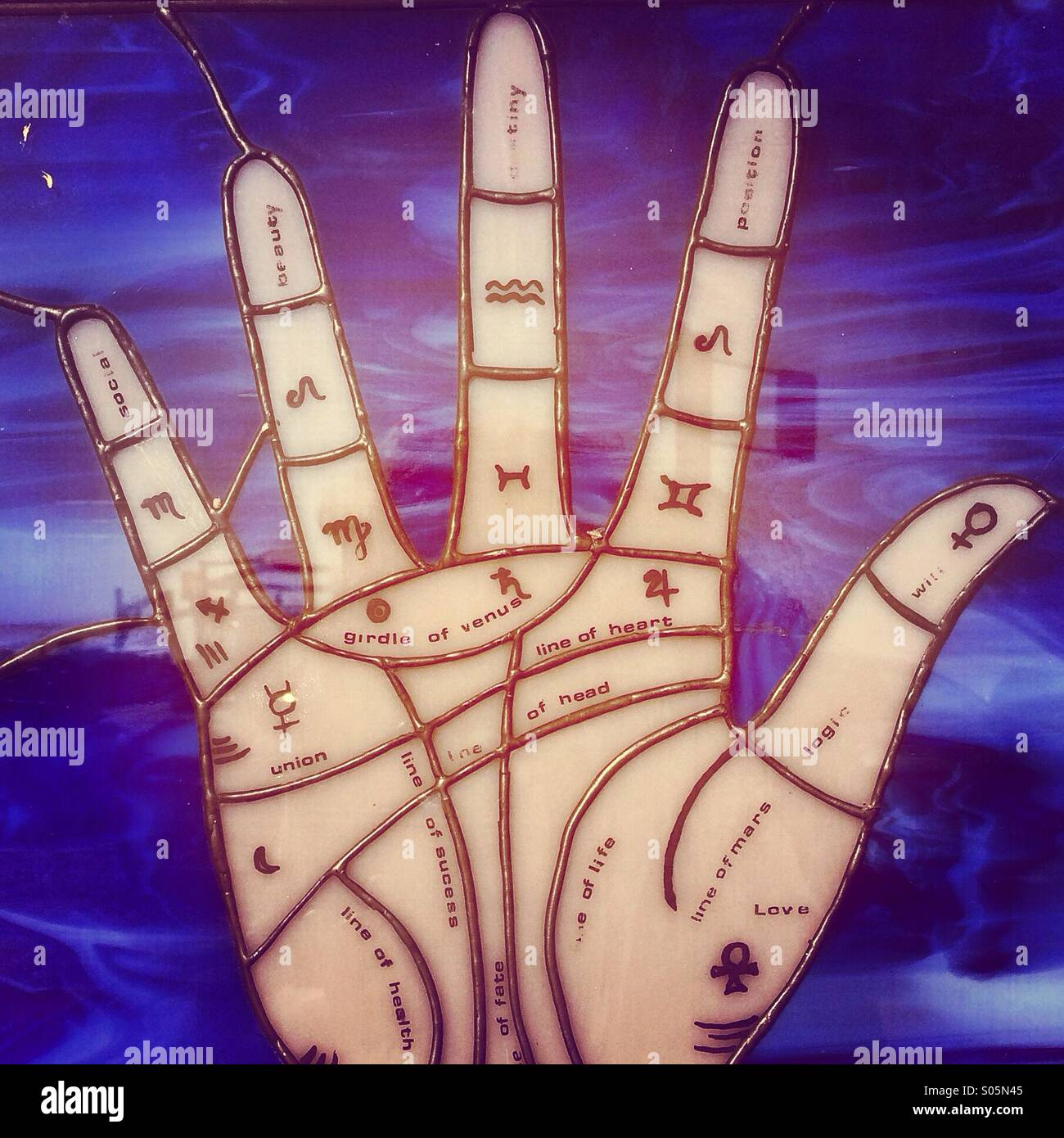Palm lines fortune teller - Stock Image