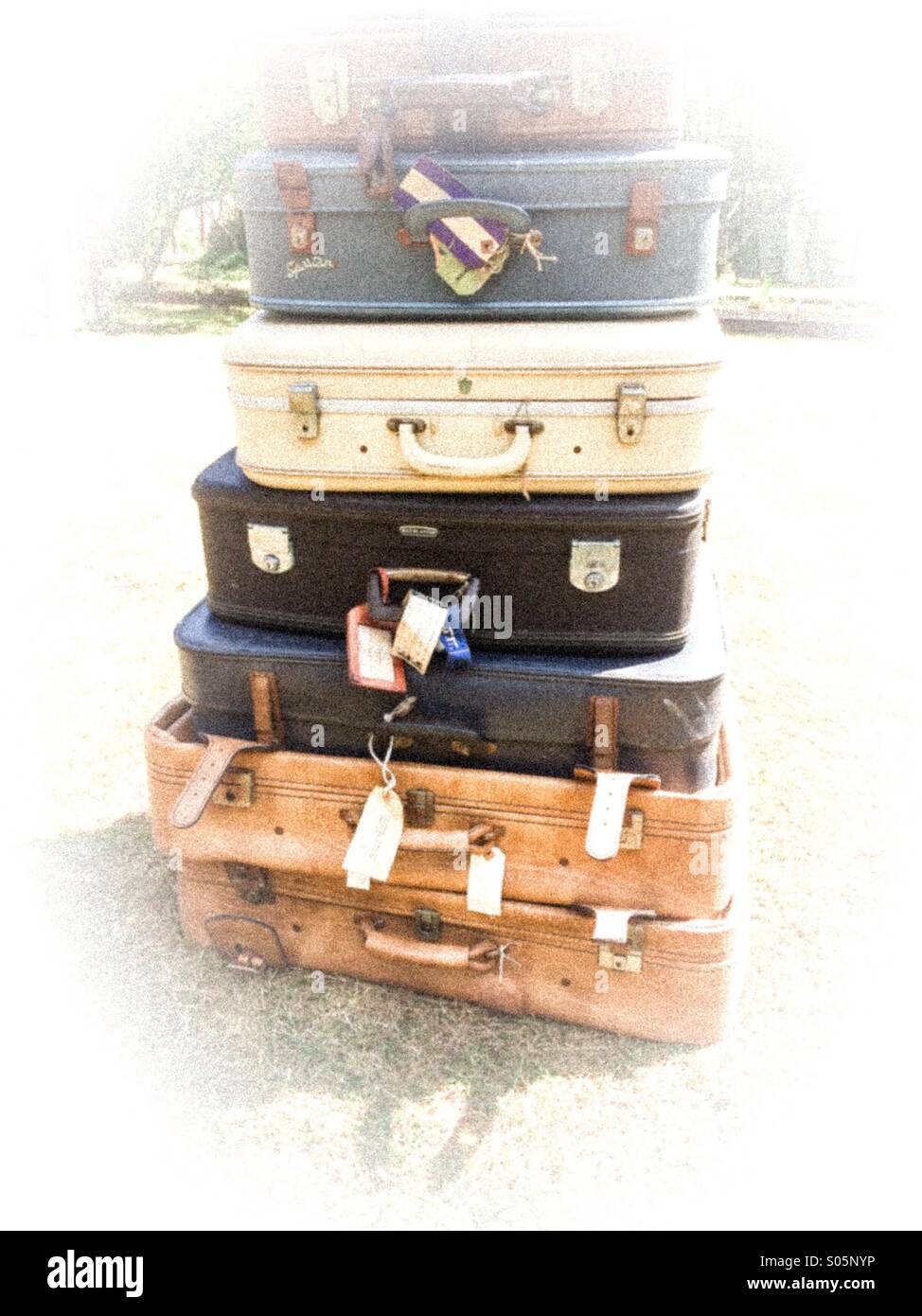 Pile of suitcases shabby chic storage solution - Stock Image