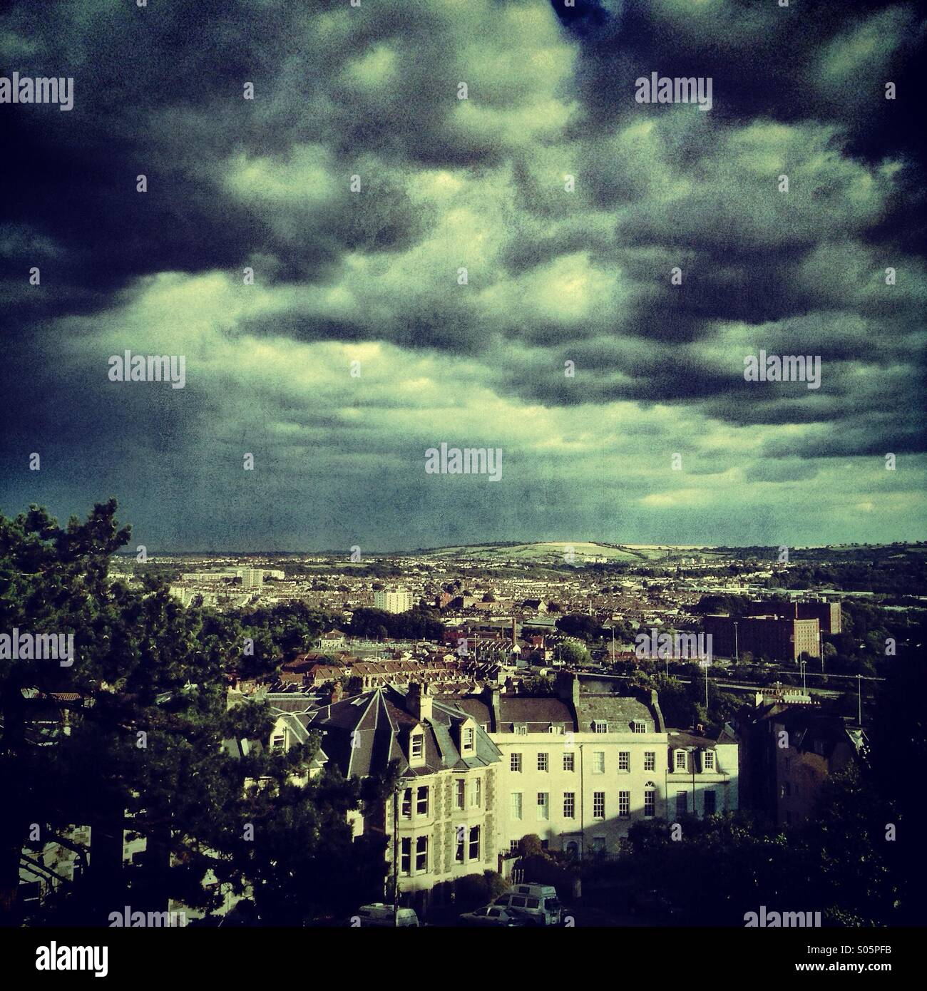 Stormy sky over Clifton, Bristol Stock Photo