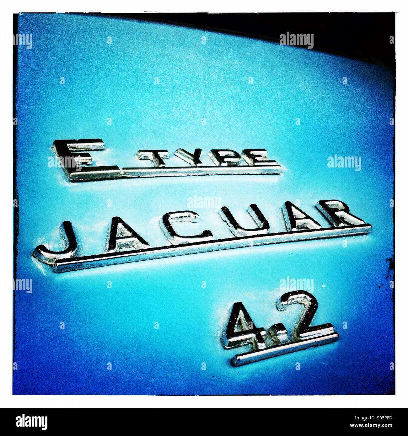 E Type Jaguar car bonnet with chrome name plate Stock Photo