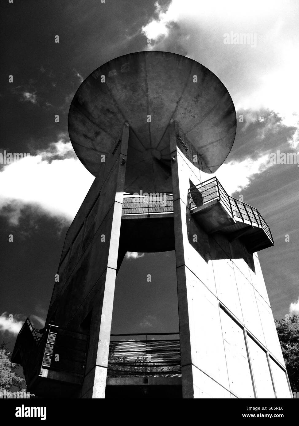 Space age satellite dish watching the sky, actually a viewing platform in a French Forrest - Stock Image