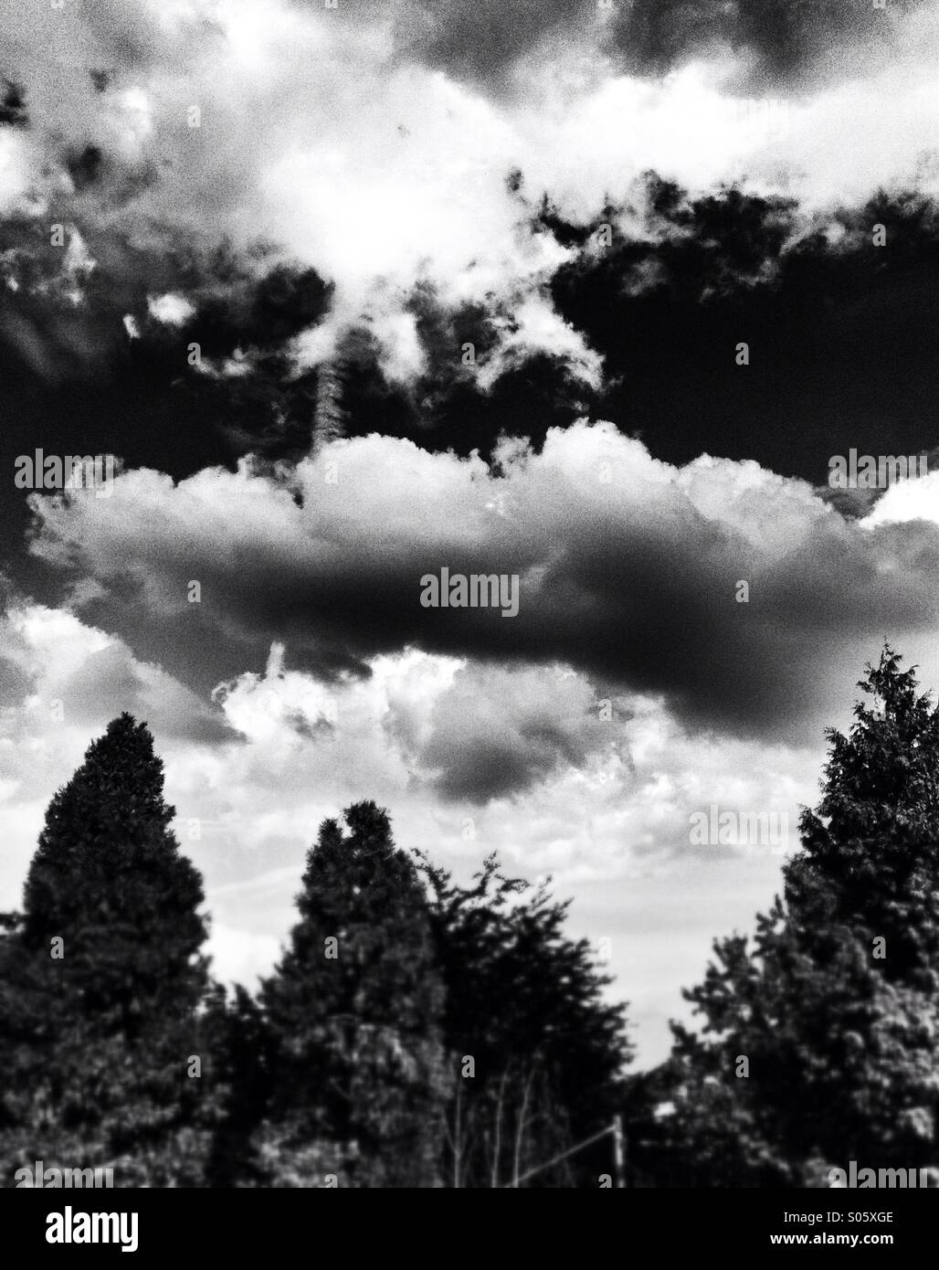 black and white cloudy sky - Stock Image