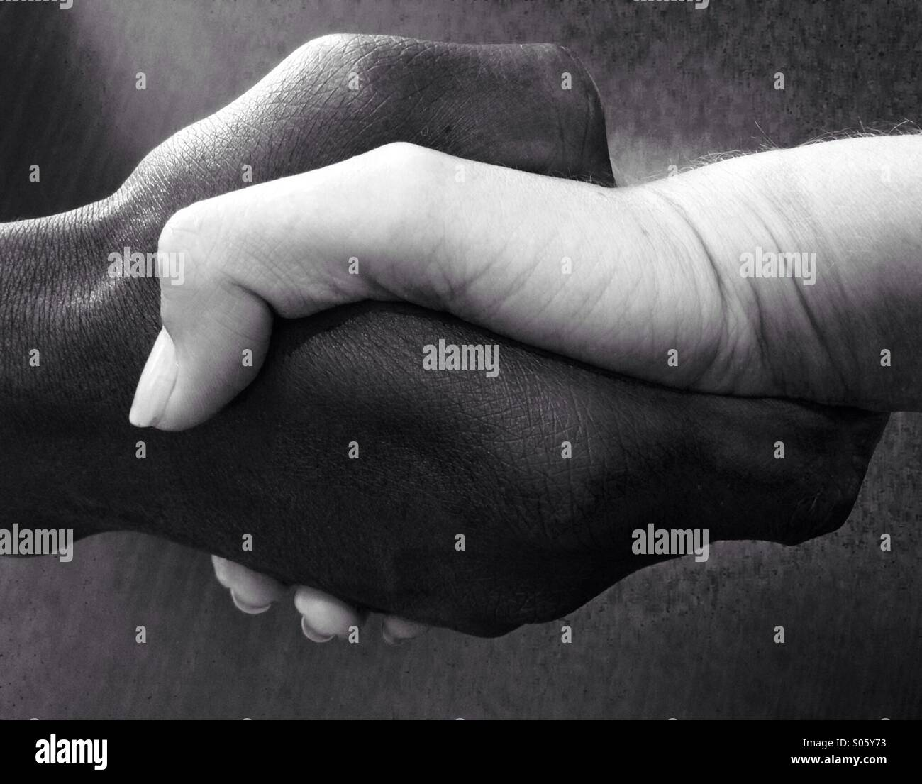 Black hand and white hand shake - Stock Image