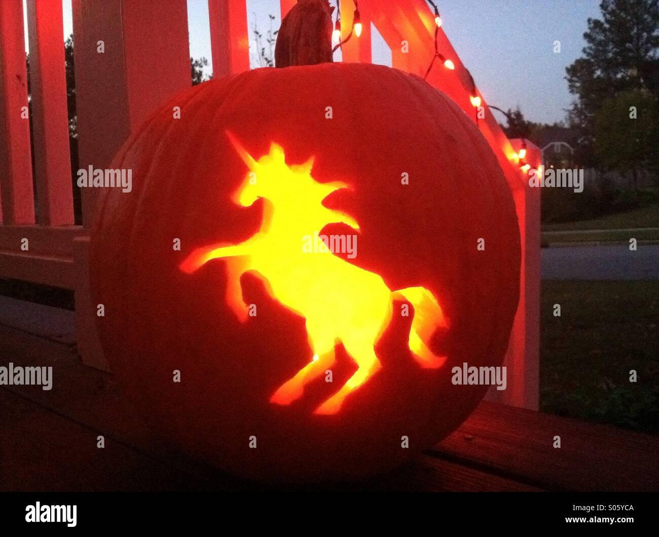 Unicorn Jackolantern Stock Photo Alamy