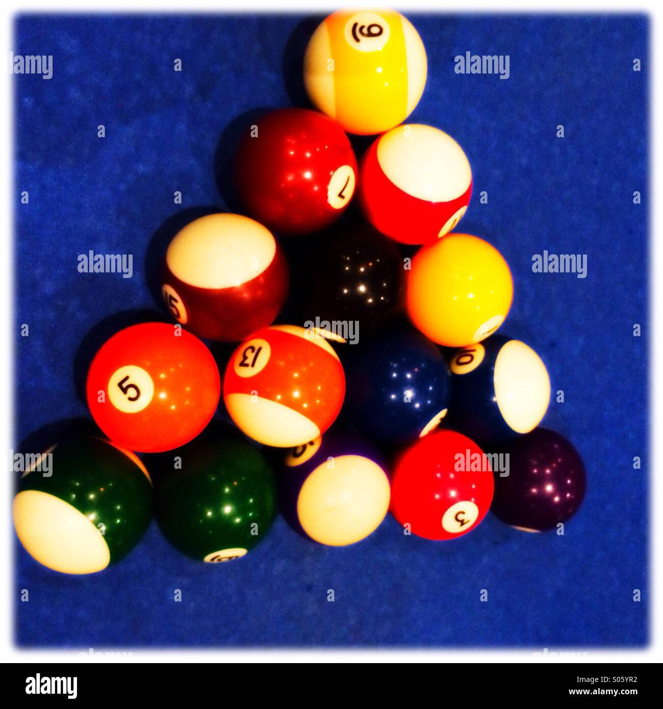 Pool table and balls at start of game - Stock Image