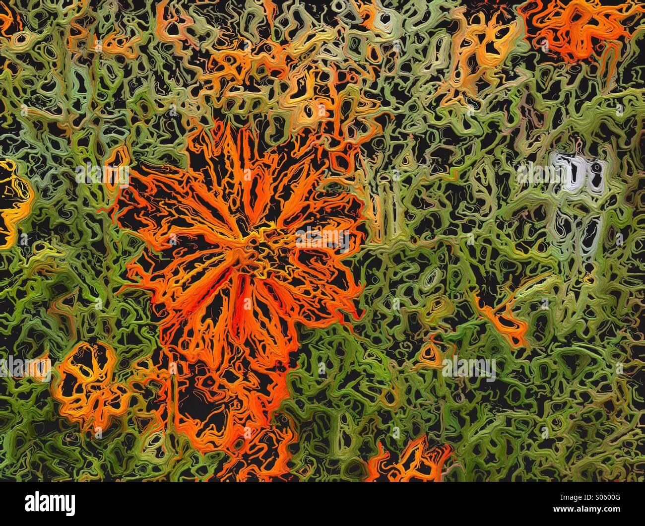 Abstract String art orange flower design. - Stock Image