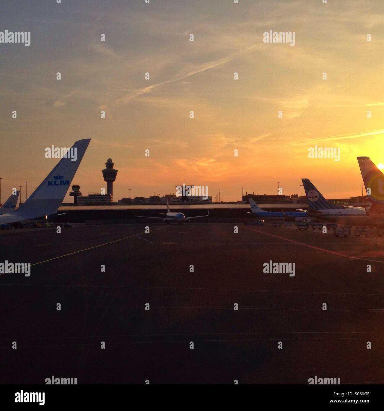 Airplanes in Schiphol Airport, Amsterdam, Holland - Stock Image