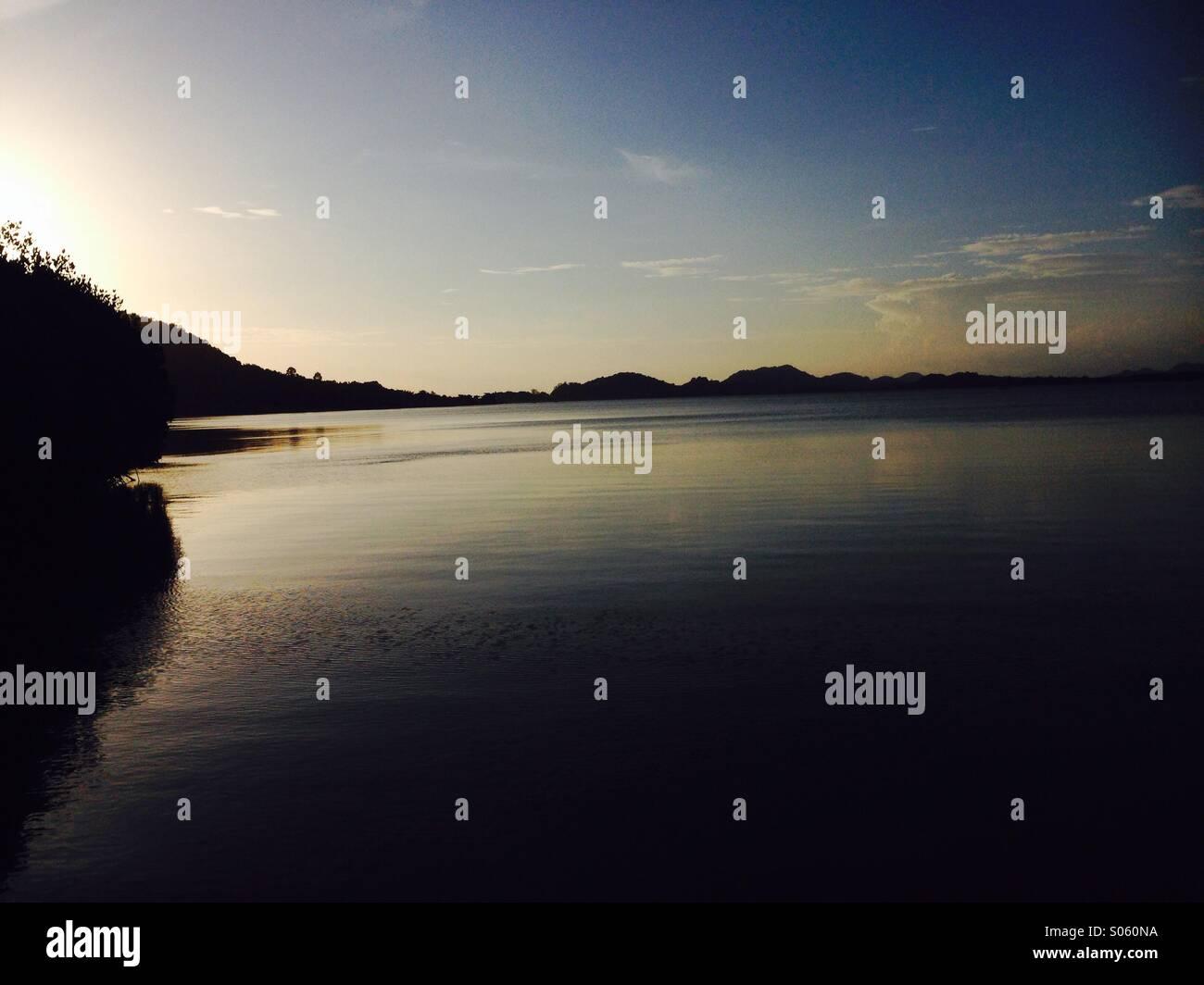 Mangrove sunset - Stock Image