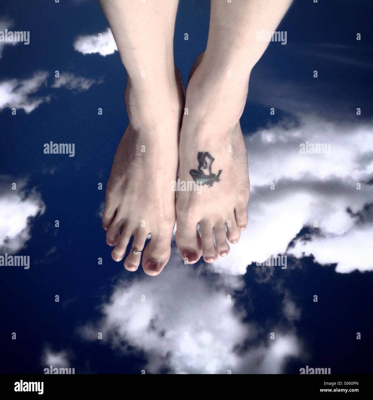 Walking on clouds - Stock Image