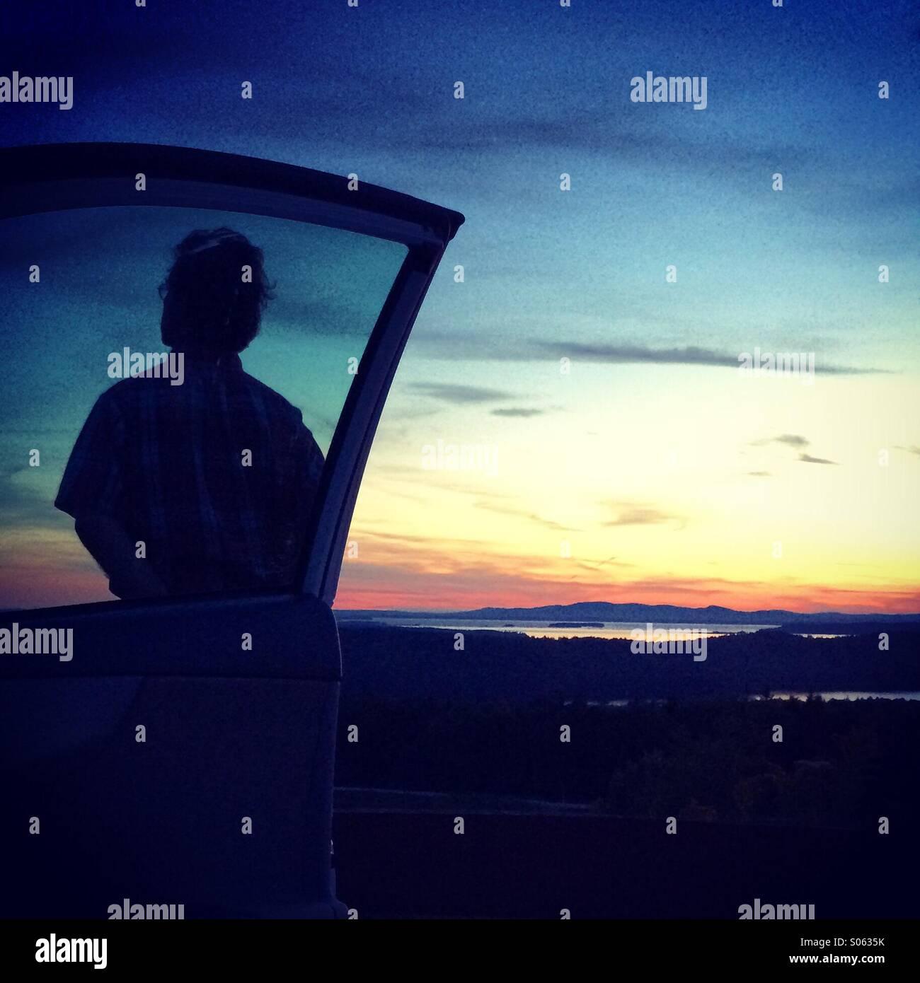 Sunset silhouette - Stock Image