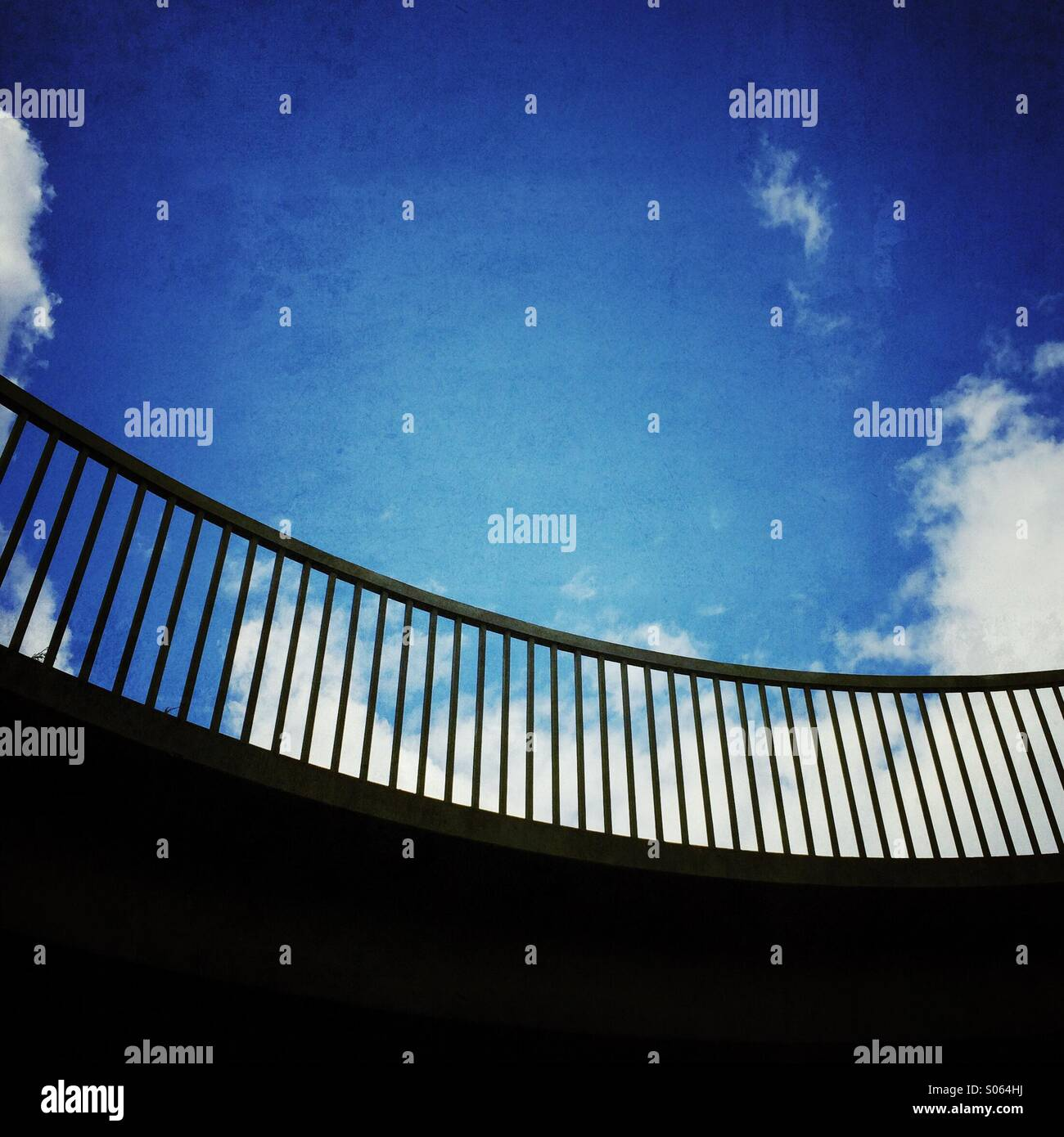Curved railings road bridge - Stock Image