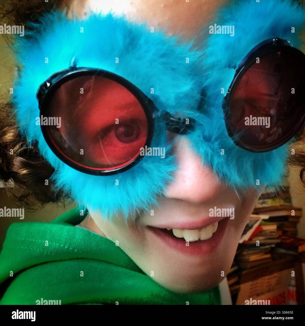 Girl in crazy glasses - Stock Image