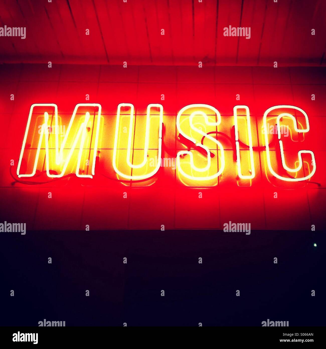 Music written in Neon lights - Stock Image