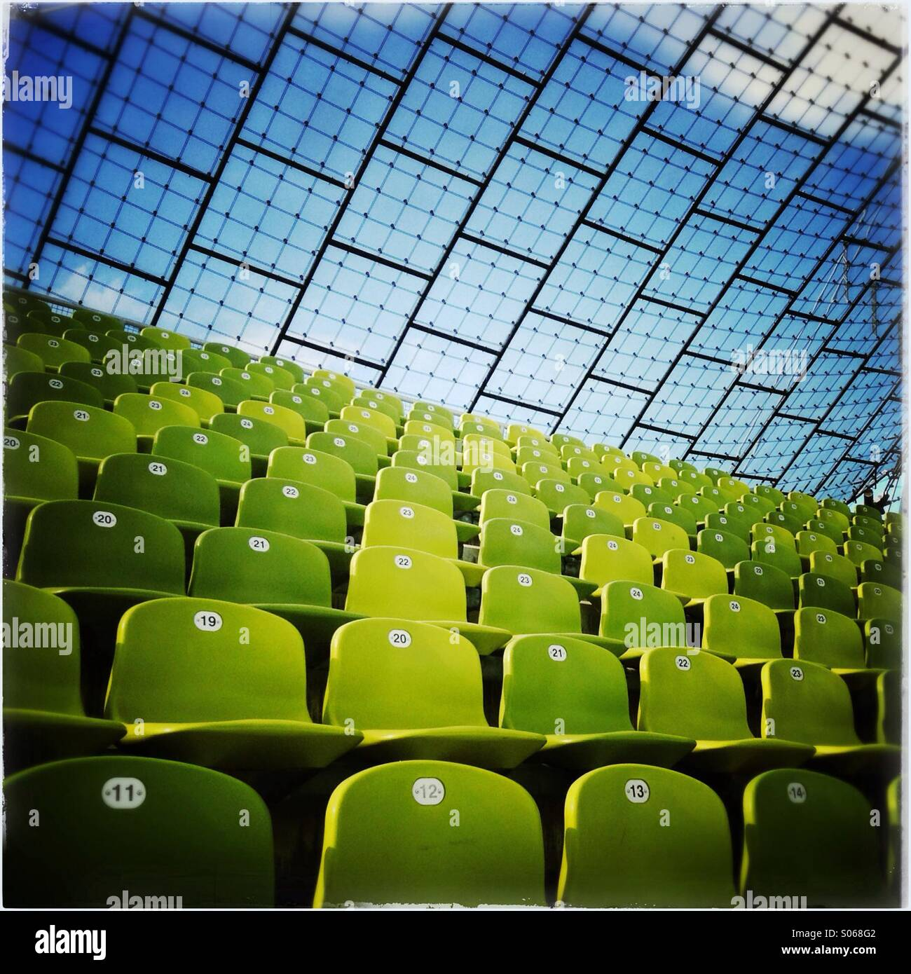 Row of seats in the Olympic Stadium in Munich, Bavaria, Germany, EuropeStock Photo