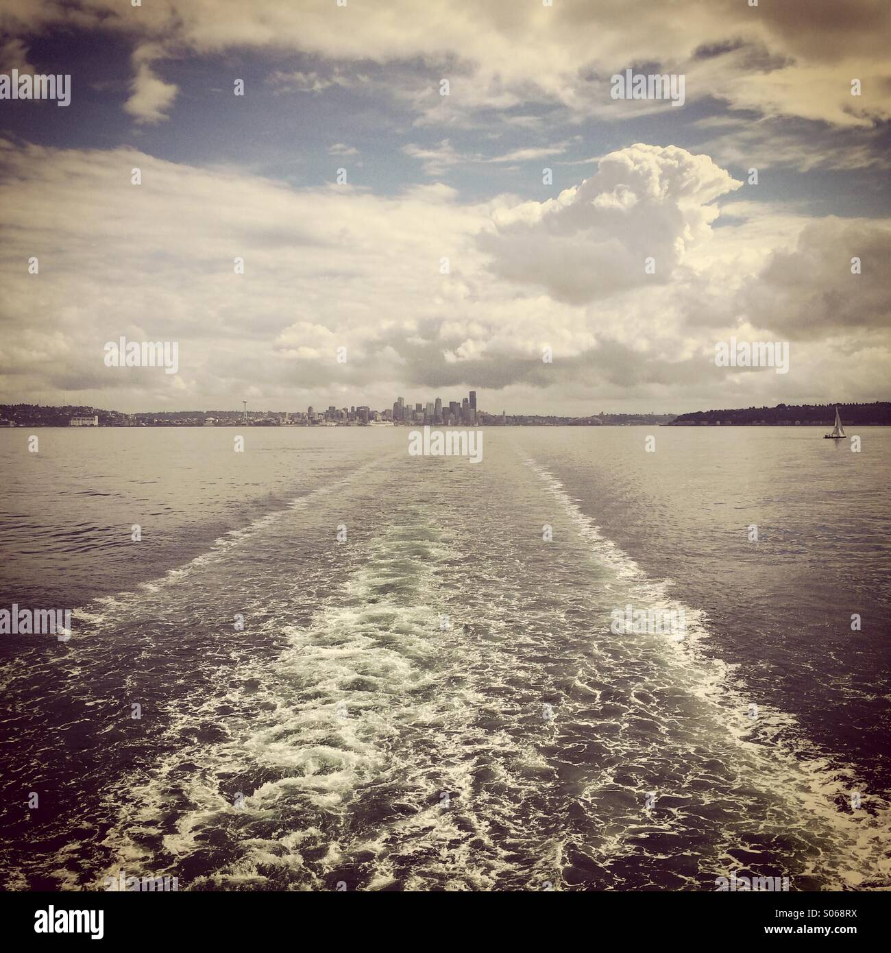 Seattle skyline from ferry boat, Puget Sound, Seattle, Washington - Stock Image