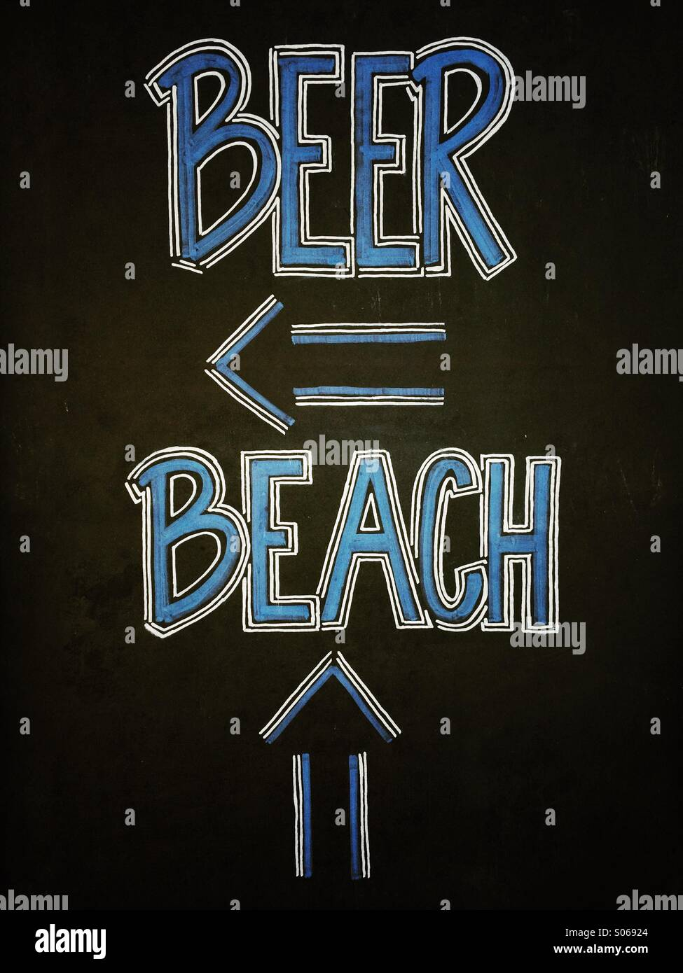 Chalk sign along sidewalk in Santa Barbara, California - Stock Image