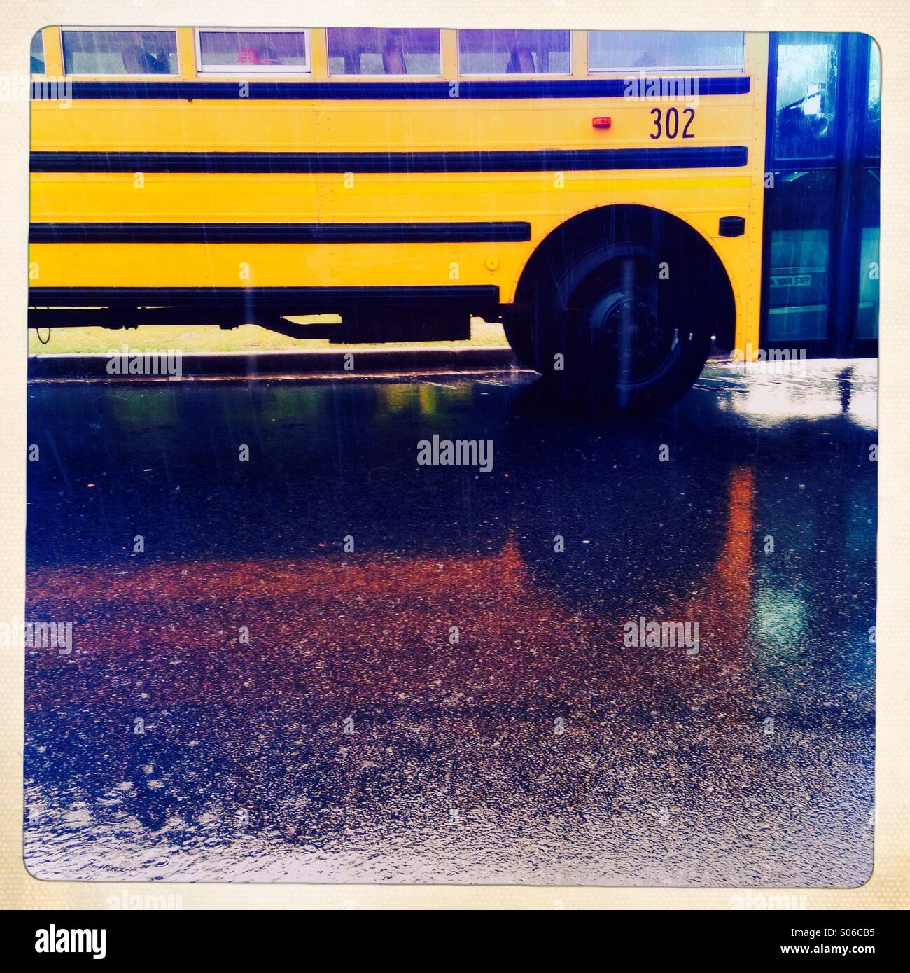 Yellow school bus , Atlanta Georgia, USA - Stock Image