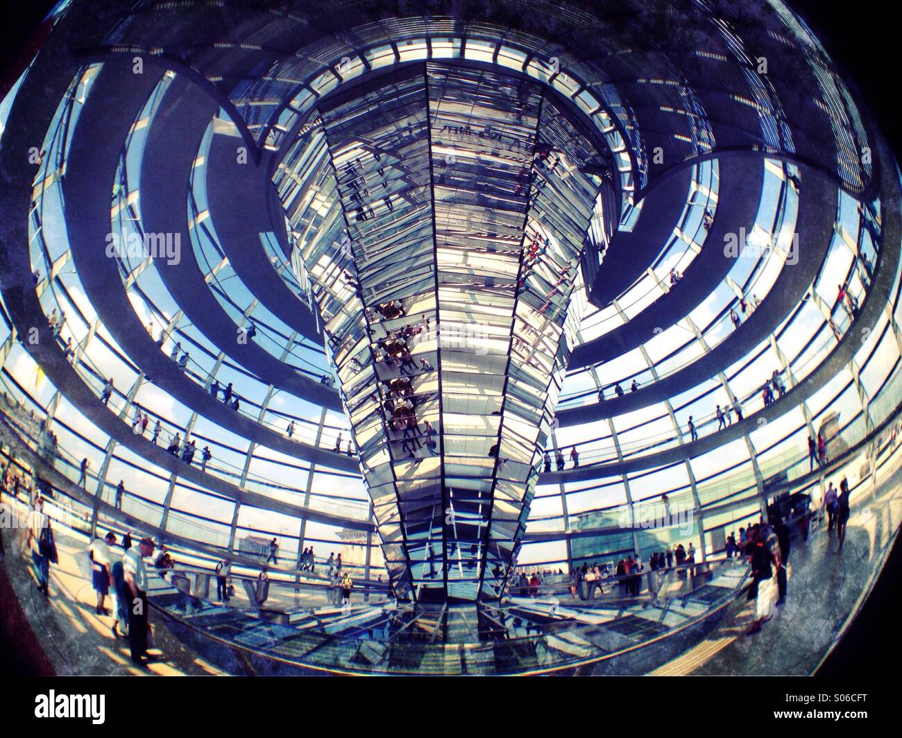 Glass cupola dome above Reichstag parliament building in Berlin Stock Photo
