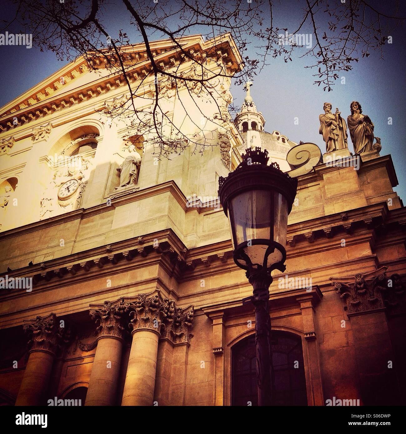 View of La Sorbonne university in Paris, France - Stock Image