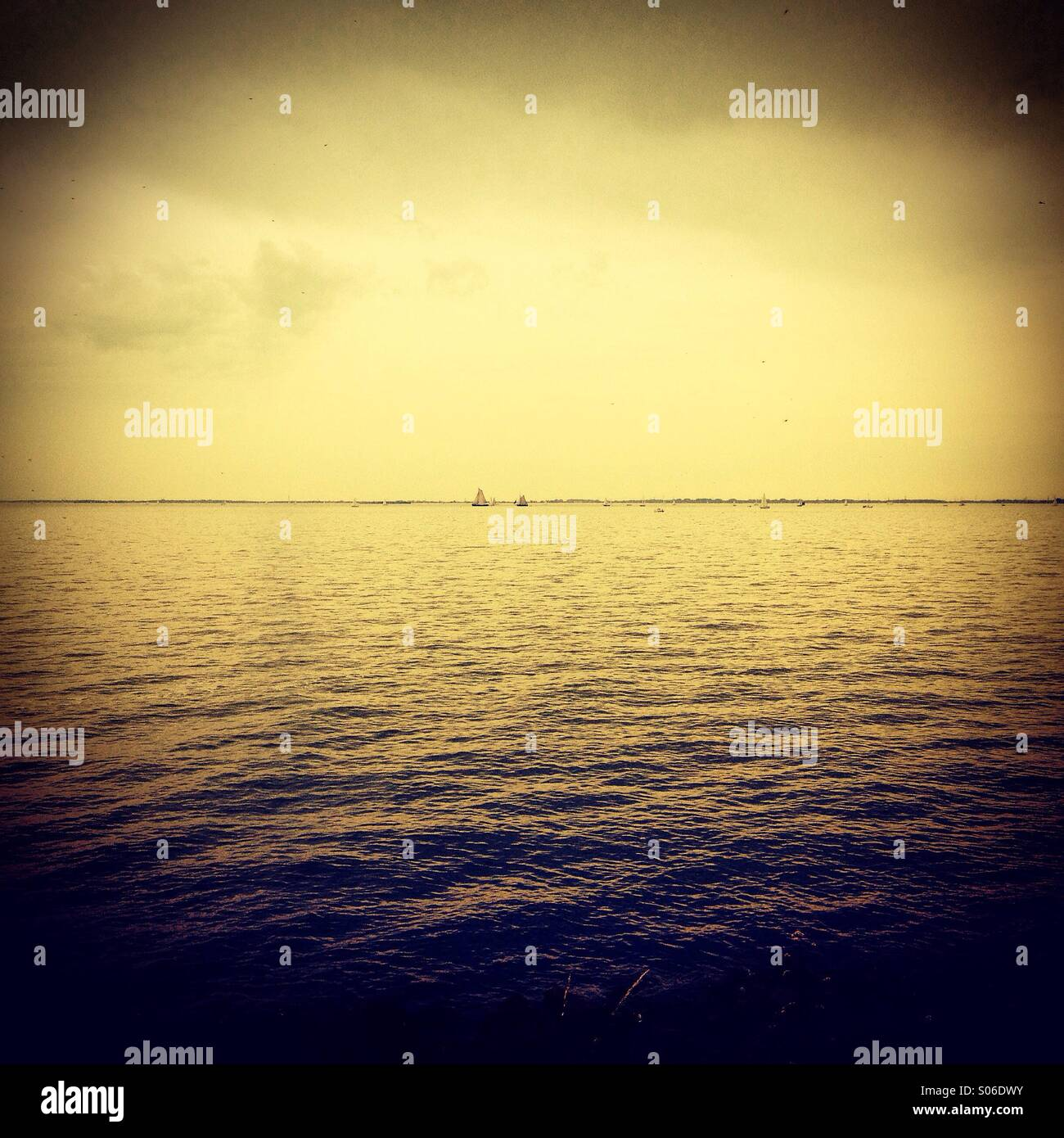 Sailing boats on the Markermeer, Netherlands - Stock Image