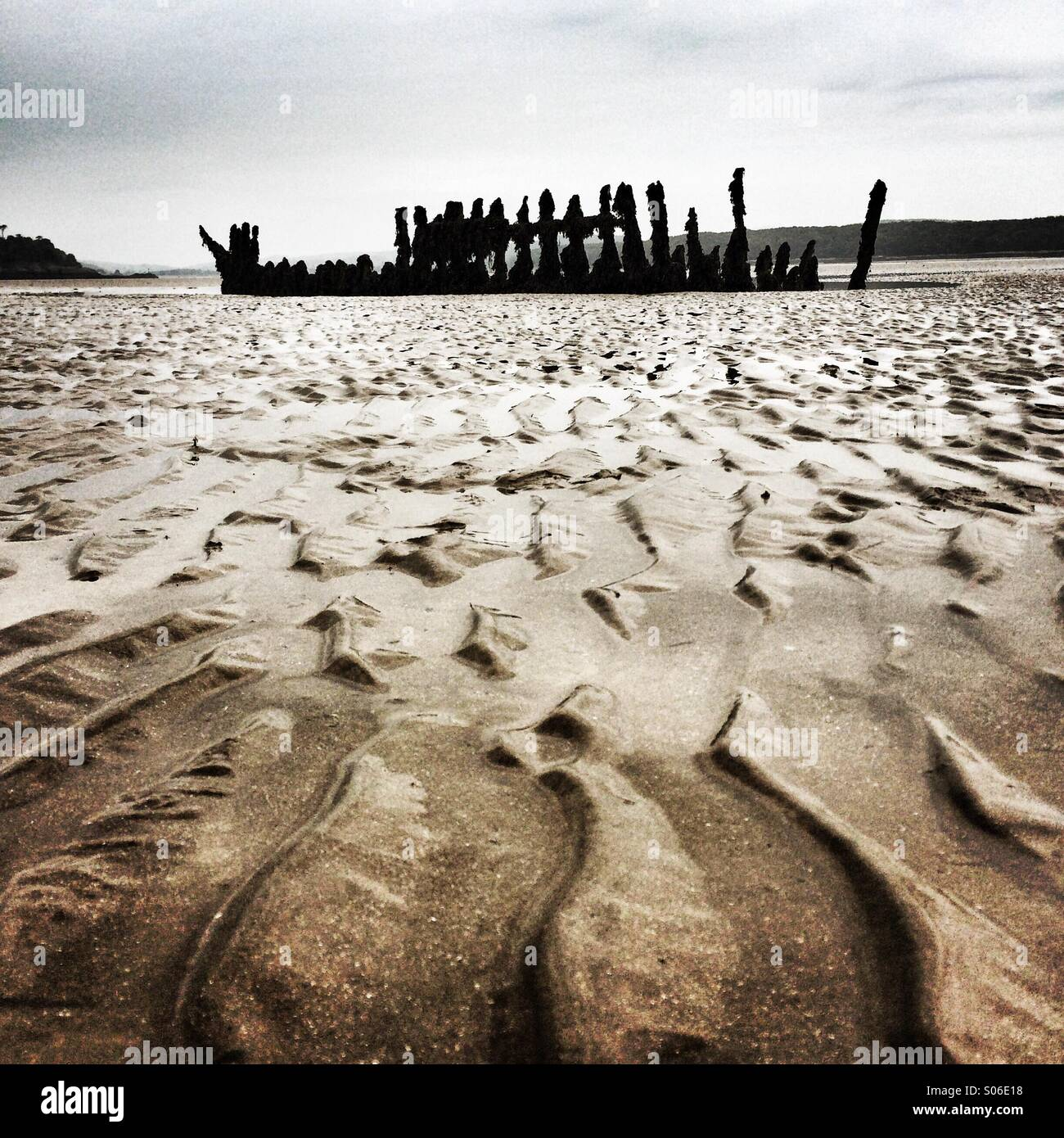 Shipwreck in Solway Firth, Scotland - Stock Image