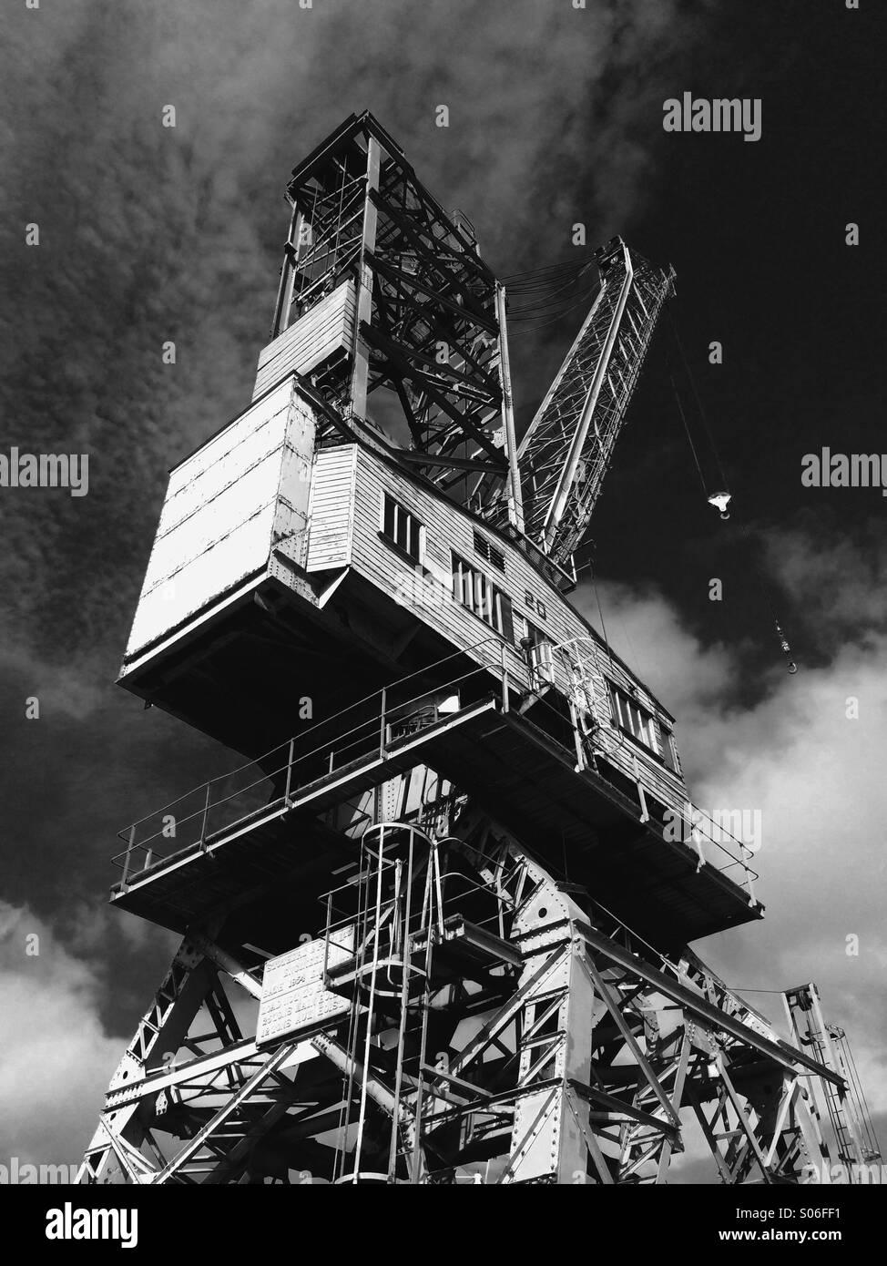 A crane at Falmouth Docks, Cornwall - Stock Image