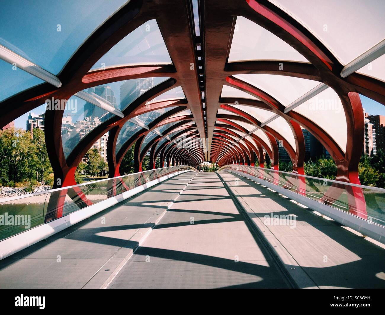 A late summer afternoon on the Peace Bridge in Calgary, Alberta Canada - Stock Image
