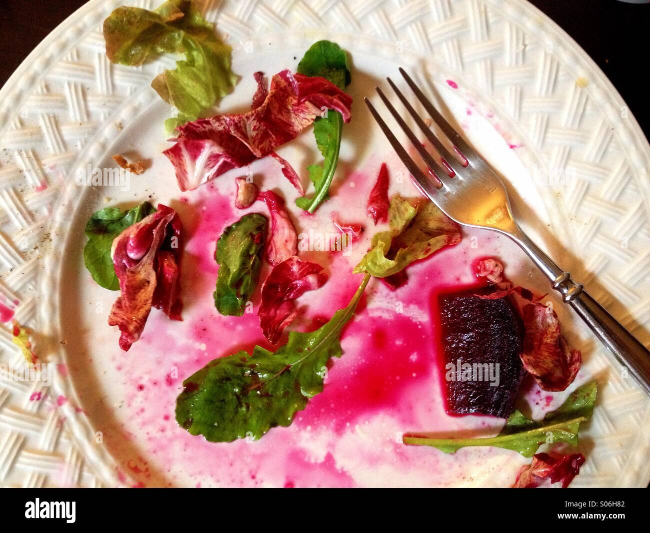 Just finished beet salad on white plate Stock Photo