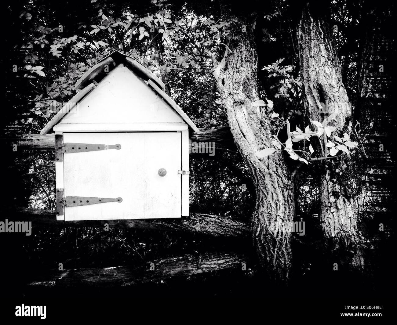 Black and White homemade mail box - Stock Image