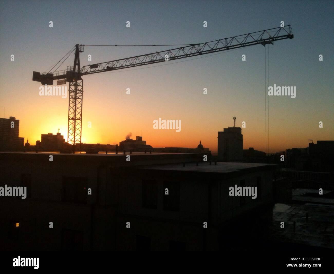 Sun rise over Nottingham - Stock Image